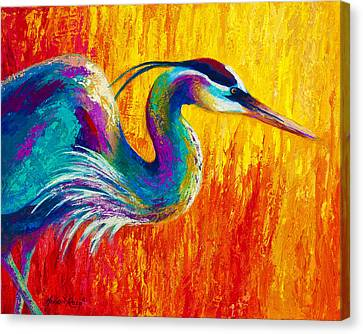 Stalking The Marsh - Great Blue Heron Canvas Print by Marion Rose