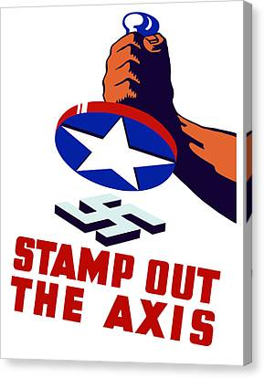 Stamp Out The Axis Canvas Print by War Is Hell Store