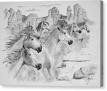 Stampede In Sedona Canvas Print by Joette Snyder