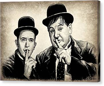 Stan And Ollie Sepia Effect Canvas Print by Andrew Read