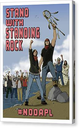 Stand With Standing Rock Canvas Print by Amy Umezu