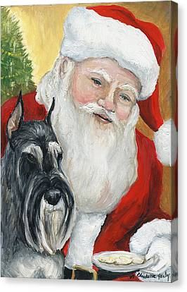 Standard Schnauzer And Santa Canvas Print by Charlotte Yealey