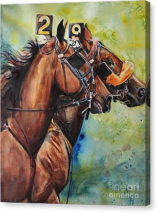 Standardbred Trotter Pacer Painting Canvas Print by Maria's Watercolor