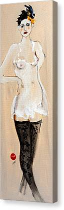 Standing Nude In Black Stockings With Flower And Bird In Hair Canvas Print by Susan Adams