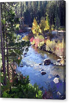 Stanislaus River In Fall Canvas Print by Brad Burns