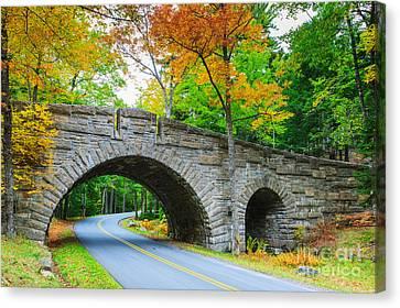 Stanley Brook Bridge In Acadia N.p Canvas Print by Henk Meijer Photography
