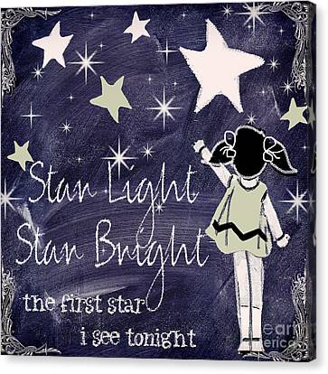 Star Light Star Bright Chalk Board Nursery Rhyme Canvas Print by Mindy Sommers