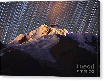 Star Trails Over Mt Huayna Potosi Canvas Print by James Brunker
