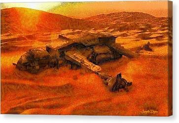 Star Wars Dead In The Desert - Pa Canvas Print by Leonardo Digenio