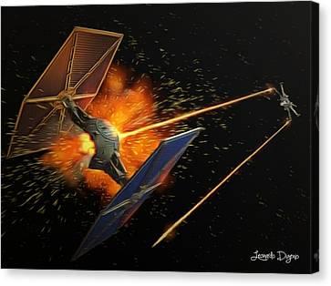 Star Wars Dogfight - Da Canvas Print by Leonardo Digenio