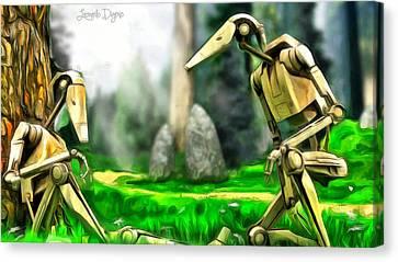Star Wars - Droids In Park Canvas Print by Leonardo Digenio