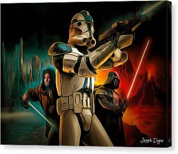Star Wars Fighters - Da Canvas Print by Leonardo Digenio