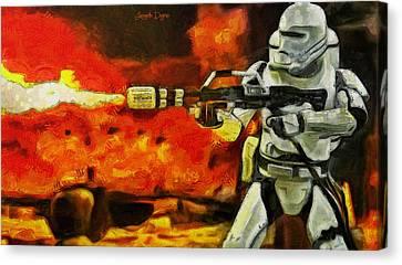 Star Wars First Order Flametrooper Firing - Pa Canvas Print by Leonardo Digenio