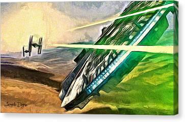 Star Wars Millennium Falcon - Da Canvas Print by Leonardo Digenio