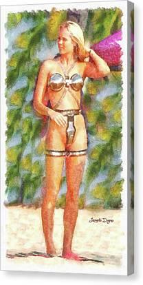 Star Wars Sex Slave - Watercolor Over Paper Canvas Print by Leonardo Digenio