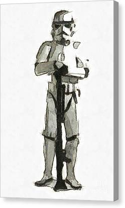 Star Wars Storm Trooper Pencil Drawing Canvas Print by Edward Fielding