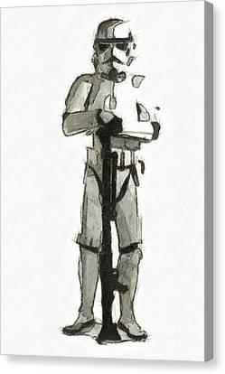 Star Wars Storm Trooper Pencil Drawing Canvas Print by Edward Fielding