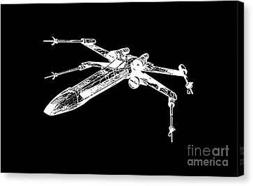 Star Wars T-65 X-wing Starfighter White Ink Tee Canvas Print by Edward Fielding