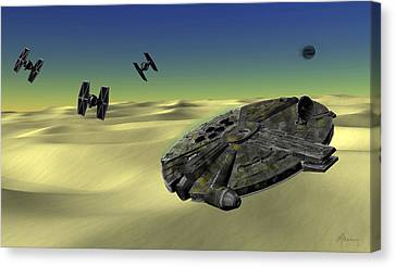 Star Wars Tatooine  Canvas Print by Michael Greenaway