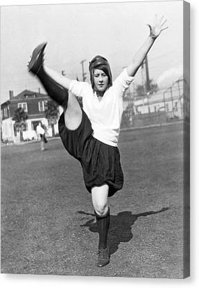 Star Woman Soccer Player Canvas Print by Underwood Archives