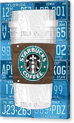 Starbucks Coffee Cup Recycled Vintage License Plate Pop Art Canvas Print by Design Turnpike