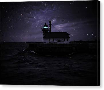Starry Lighthouse Canvas Print by Dawn Van Doorn