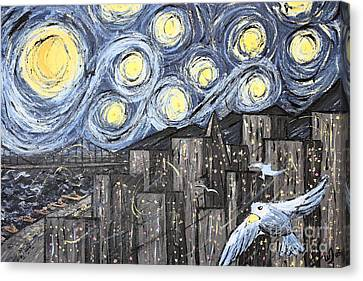 Starry Nights In San Francisco 1985 Canvas Print by Wingsdomain Art and Photography