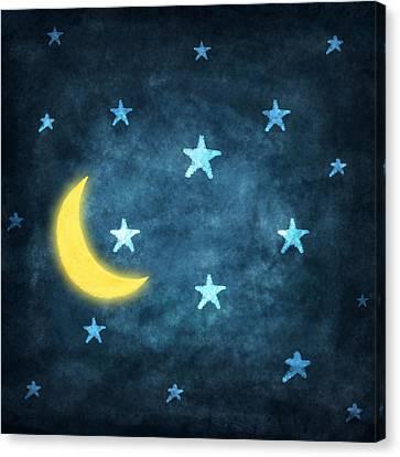 Stars And Moon Drawing With Chalk Canvas Print by Setsiri Silapasuwanchai