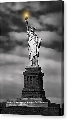 Statue Of Liberty At Dusk Canvas Print by Daniel Hagerman