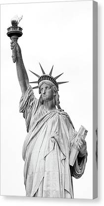 Statue Of Liberty, Black And White Canvas Print by Sandy Taylor