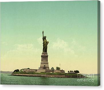 Statue Of Liberty, New York Harbor Canvas Print by Unknown