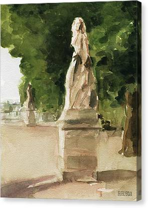 Statues Jardin Du Luxembourg Canvas Print by Beverly Brown Prints