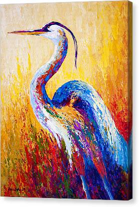 Steady Gaze - Great Blue Heron Canvas Print by Marion Rose
