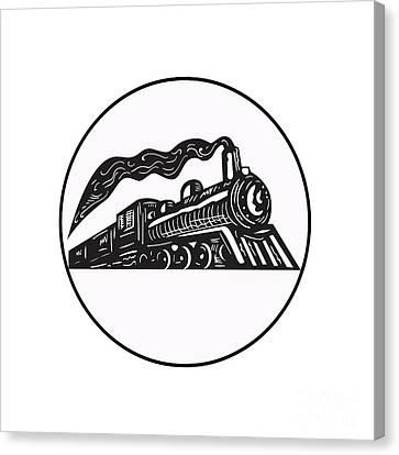Steam Train Locomotive Coming Up Circle Woodcut Canvas Print by Aloysius Patrimonio