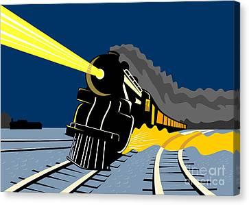 Steam Train Night Canvas Print by Aloysius Patrimonio