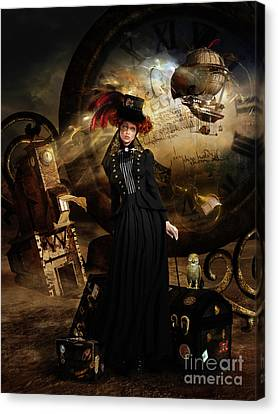 Steampunk Time Traveler Canvas Print by Shanina Conway