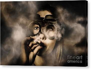 Steampunk Welder Smoking Cigarette Canvas Print by Jorgo Photography - Wall Art Gallery