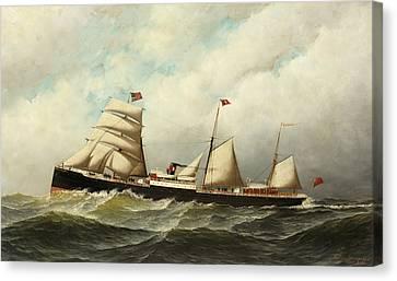 Steamship   Cornwall Canvas Print by Antonio Jacobsen
