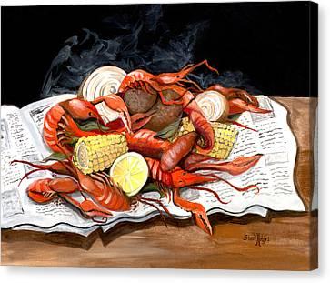 Steamy Crawfish Canvas Print by Elaine Hodges