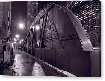 Steel Bridge Chicago Black And White Canvas Print by Steve Gadomski