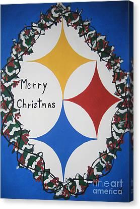 Steelers Christmas Card Canvas Print by Jeffrey Koss