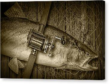 Steelhead Trout Catch In Sepia Canvas Print by Randall Nyhof