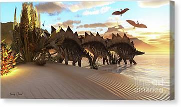 Stegosaurus Dinosaur Canvas Print by Corey Ford