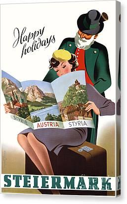 Steiermark Styria Vintage Travel Poster Restored Canvas Print by Carsten Reisinger