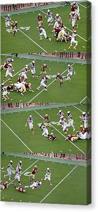 Step By Step College Football Canvas Print by Betsy Knapp