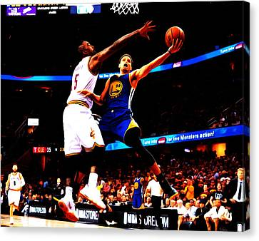 Steph Curry Left Hand Canvas Print by Brian Reaves