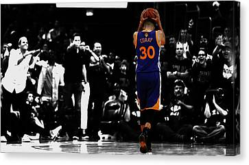 Stephen Curry 4f Canvas Print by Brian Reaves