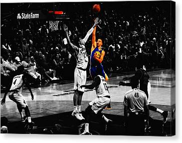 Stephen Curry Soft Touch Canvas Print by Brian Reaves