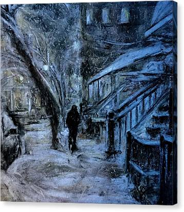 Stepping Out For A Hot Chocolate Canvas Print by Victoria General