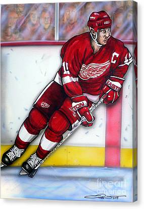 Steve Yzerman Canvas Print by Dave Olsen